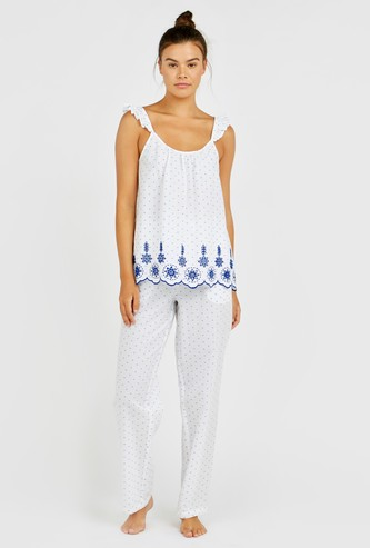 All Over Printed Sleeveless Top and Pocket Detail Pyjama Set