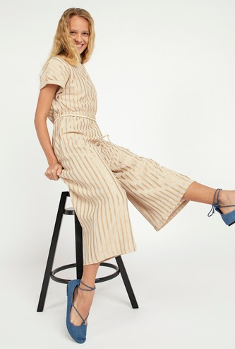 Striped Jumpsuit with Pocket Detail and Tie Ups