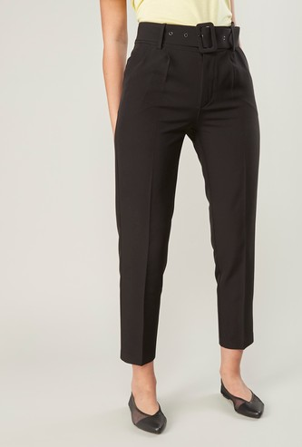 Plain Mid-Rise Trousers with Belt and Pocket Detail