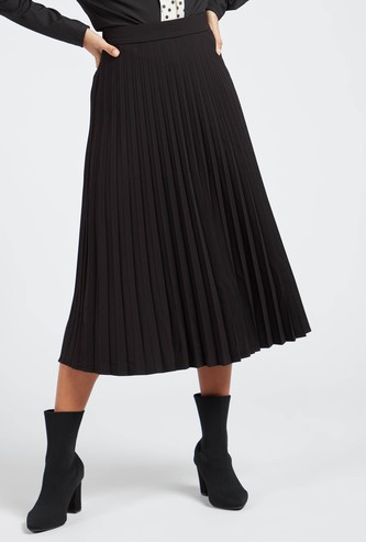 Pleated Solid Midi Skirt with Side Zip Closure