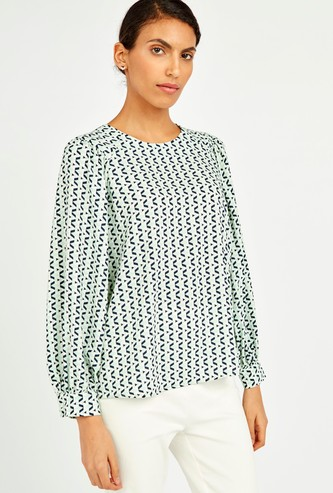 Printed Round Neck Top with Long Bishop Sleeves