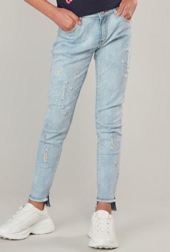 Embellished Detail Jeans with Belt Loops and Pocket Detail
