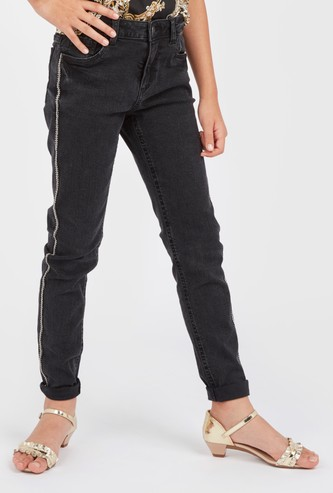 Solid Jeans with Side Tape Detail and Pockets