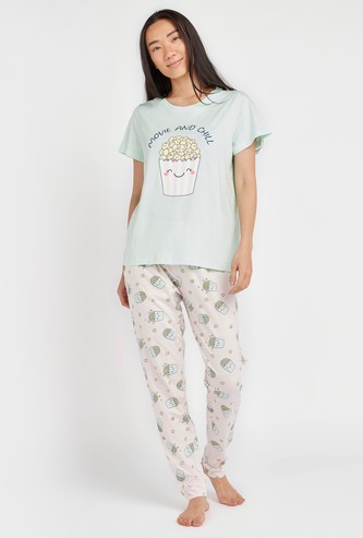 Popcorn Print Short Sleeves T-shirt with Full Length Jog Pants