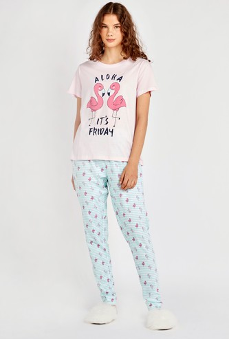 Flamingo Print T-shirt and Pyjama Set