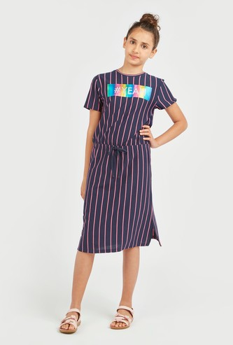 Striped Dress with Short Sleeves and Tie Ups