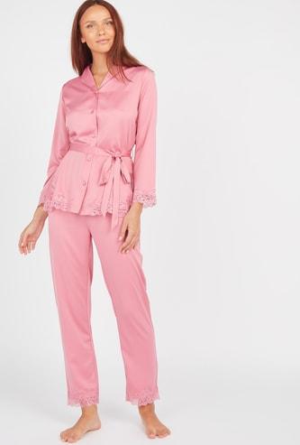 Lace Detail Long Sleeves Shirt and Pyjama Set