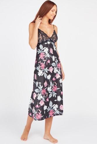 Floral Print Sleep Dress with V-neck and Adjustable Straps