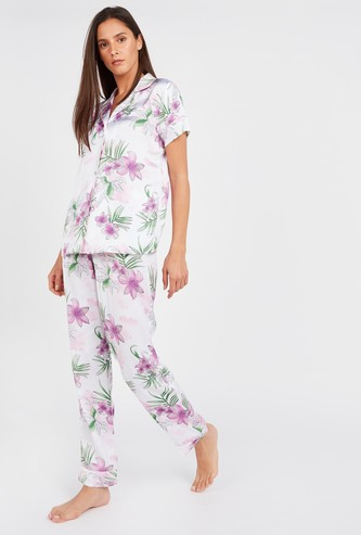 Floral Print Short Sleeves Shirt and Pyjamas Set