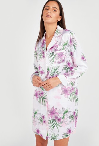 Floral Print Sleepshirt with Spread Collar and Long Sleeves