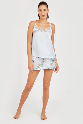 Solid Camisole with Spaghetti Straps and Floral Print Shorts