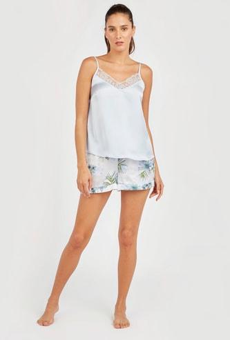 قميص داخلي قصير سادة بطبعات أزهار وحمّالات رفيعة