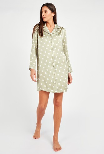 Polka Dot Print Sleepshirt with Long Sleeves and Chest Pocket