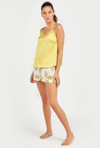 Lace Detail Spaghetti Top with Printed Shorts