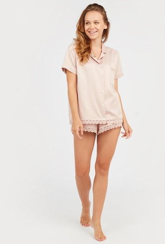 Lace Detail Short Sleeves Shirt with Shorts