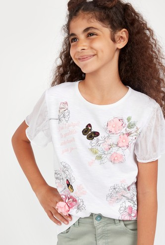 Printed T-shirt with Short Sleeves and Flower Applique Detail