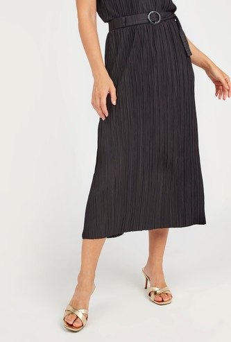 Textured Midi A-line Skirt with Belt