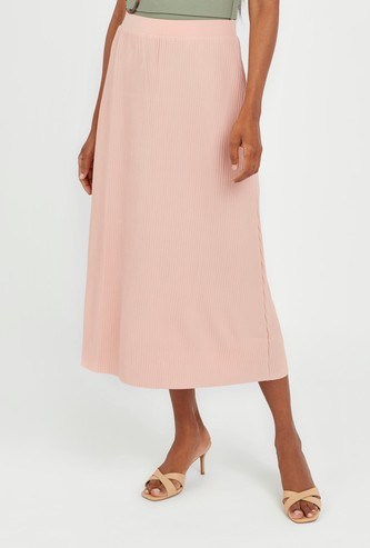 Textured Midi A-line Skirt with Ribbed Detail and Elasticised Waistband