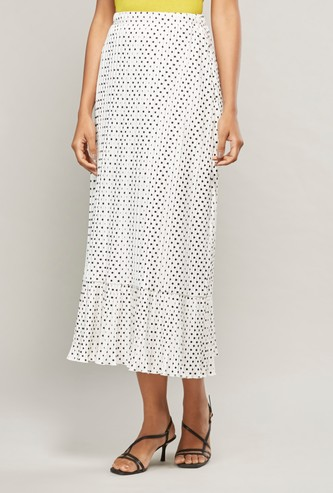 Polka Dot Printed Skirt with Pleat Detail and Elasticised Waistband
