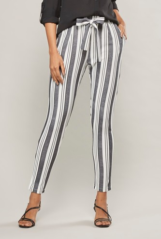 Striped Mid-Rise Trousers with Pocket Detail and Tie Ups