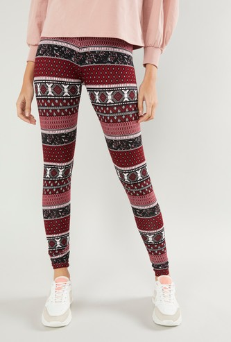 Print Leggings with Elasticised Waistband