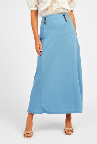 Textured Midi A-line Skirt with Button Detail