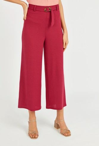 Textured Mid-Rise Culottes with Belt