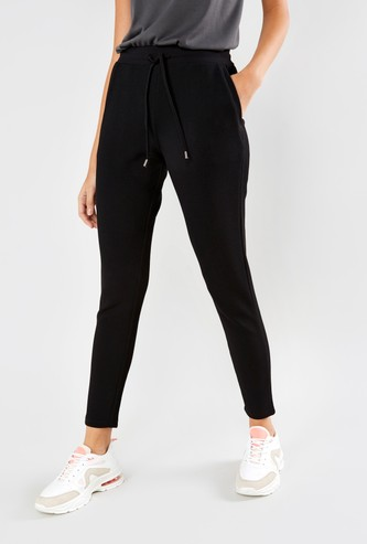 Textured Trousers with Pocket Detail and Drawstring Closure