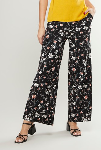 Printed High-Rise Palazzo Pants with Pocket Detail