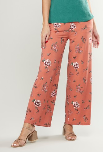 Printed High-Rise Palazzo Pants with Elasticised Waistband
