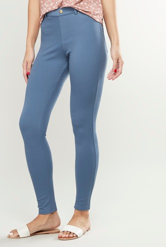 Solid Ankle Length Jeggings with Belt Loops