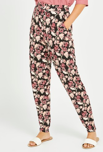 All Over Printed Harem Pants with Pocket Detail