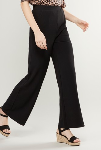Wide Fit Plain Palazzo Pants with Pocket Detail