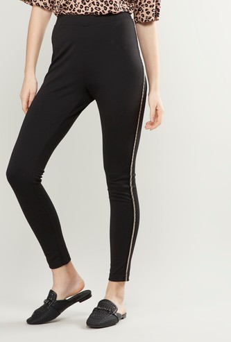 Embellished Tape Detail Ponte Leggings with Elasticised Waistband