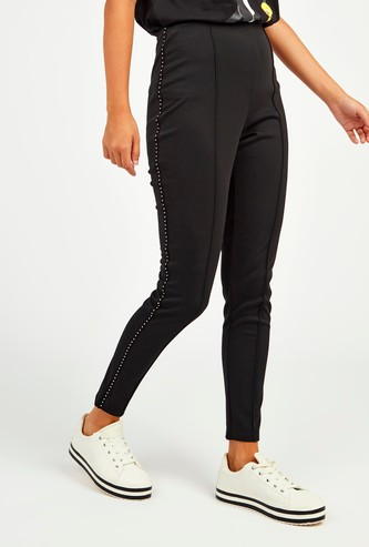 Solid Ponte Pants with Embellished Side Detail