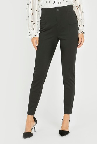 Solid Ponte Pants with Elasticised Waistband