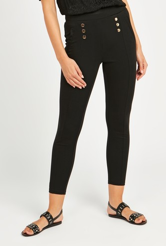 Solid Ankle Length Ponte Pants with Elasticised Waistband