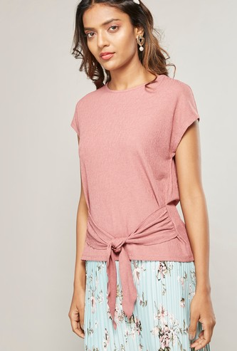Solid Top with Cap Sleeves and Front Knot Detail
