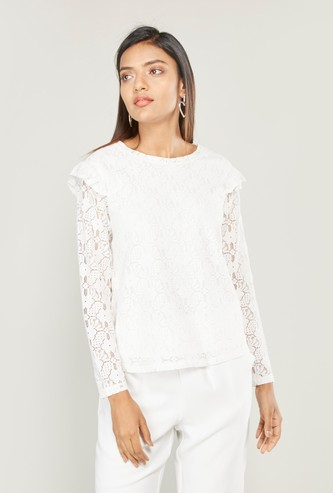 Lace Round Neck Top with Long Sleeves and Ruffle Detail