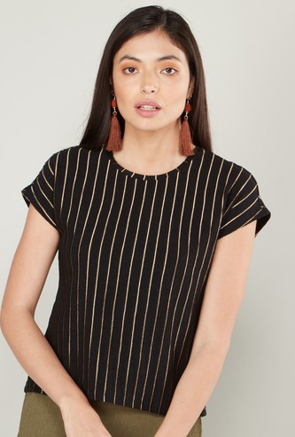Striped Boxy Top with Round Neck and Cap Sleeves