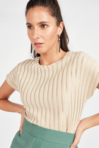Striped Round Neck Boxy Top with Short Sleeves