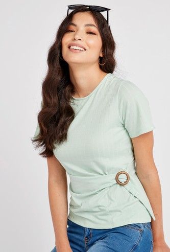 Textured Top with Round Neck and Buckle Detail