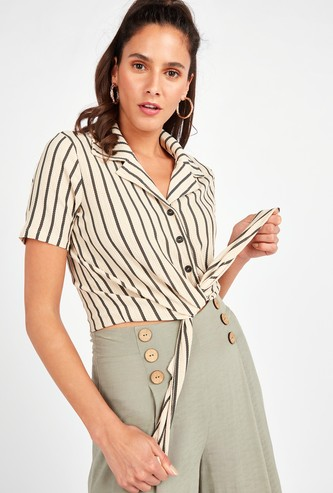 Striped Crop Shirt with Short Sleeves and Front Knot Detail