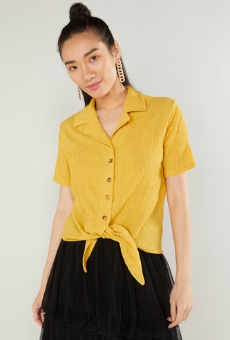 Textured Top with Spread Collar and Knot Detail
