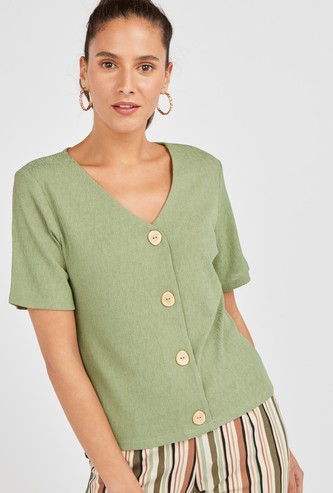 Textured V-Neck Top with Buttons