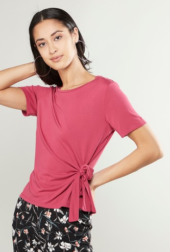 Solid Top with Round Neck and Front Knot Detail