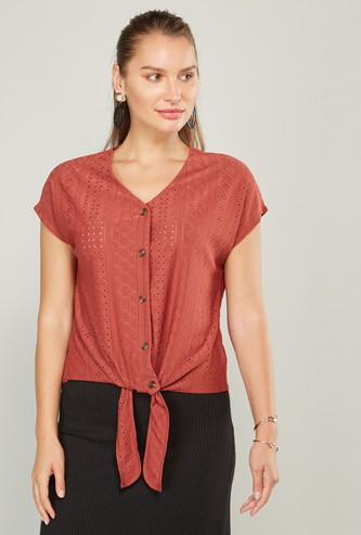 Schiffli Top with V-neck and Short Sleeves