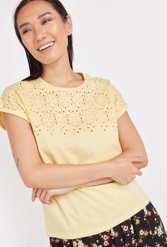 Textured T-shirt with Round Neck and Cap Sleeves