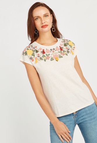 Floral Puff Print Round Neck Top with Short Sleeves and Tassels