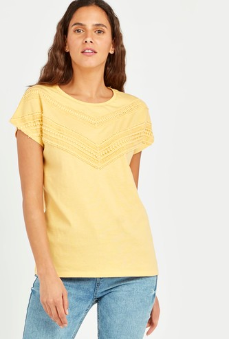 Textured T-shirt with Round Neck and Lace Detail